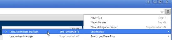 Chrome Lesezeichenleiste