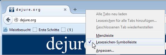 Firefox Lesezeichen-Symbolleiste